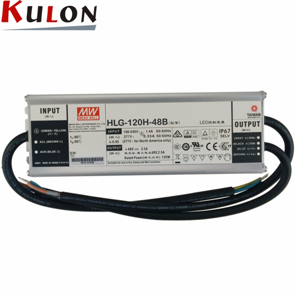 Original MEAN WELL HLG-120H-48B LED driver 120W 48V 2.5A Output Adjustable IP67 level Constant Current Power Supply