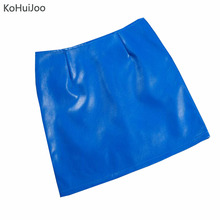FREE SHIPPING 2018 Women pu Pencil Lether Skirt Black Blue Slim JKP1001