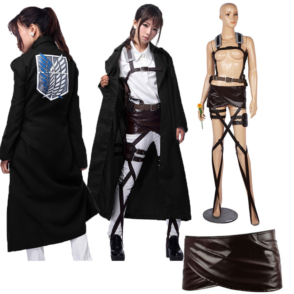 Hot New Shingeki No Kyojin Levi Rivaille Jacket Cloak Adult Cosplay Costume Attack On Titan Black Shawl Belt Suit Leather Shorts