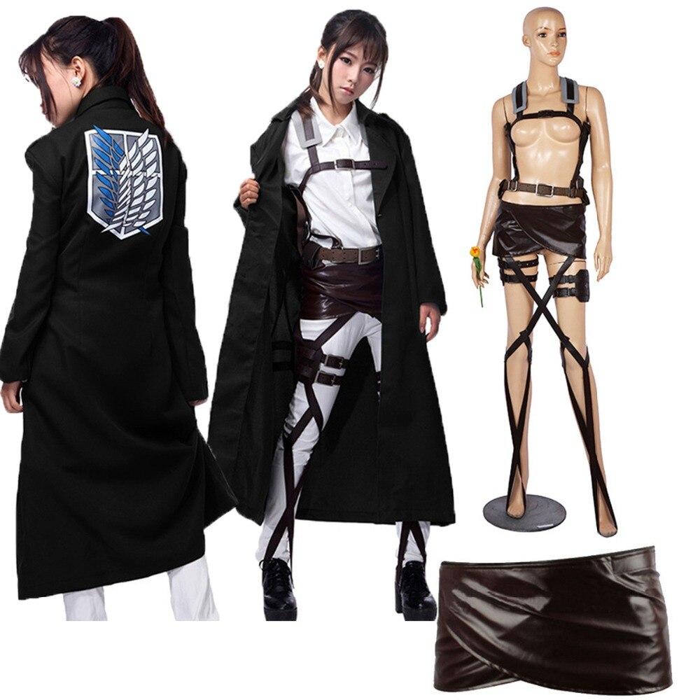 Nouvelle veste Shingeki no Kyojin Levi Rivaille manteau adulte costume cosplay attaque sur Titan noir châle ceinture costume short en cuir