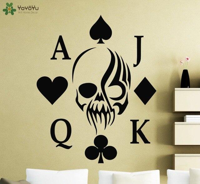 Poker Holdem Wall Sticker Interior Skull Card Vinyl Design Wall ...