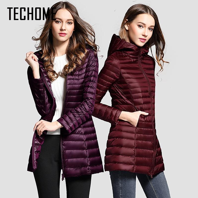 Long Down Jacket Women Winter Down Coats Ultra Light Down Jacket Quilted Hooded Coat Women Duck Downs Jacket Coat