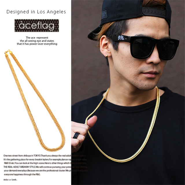 bb6d3b2a7204c NYUK Mens Fashion Necklace High Quality Gold 75cm Long Cuban Link Chain  Statement Necklaces Young Men Hip Hop Jewelry Bijouterie