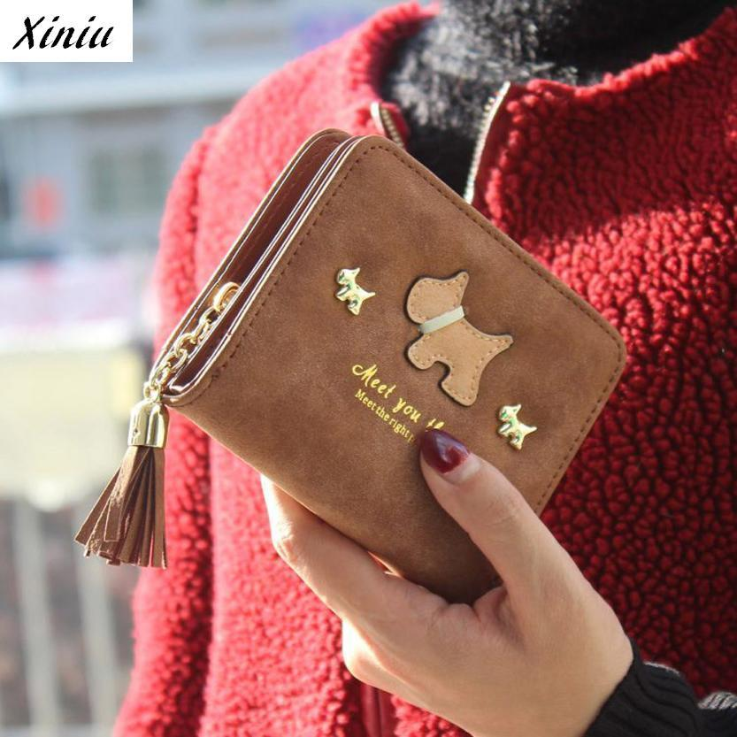 Xiniu Women Short Purse Cute Dog Grind Arenaceous Leather Wallet Card Holder Handbag Bags  #2415 australien карта