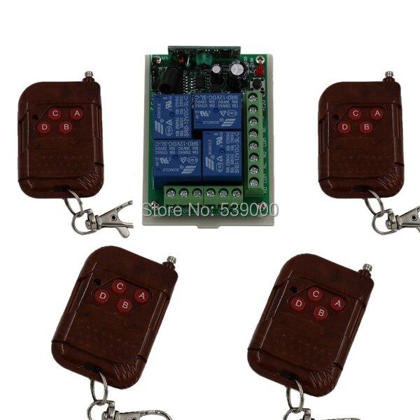 DC 12V 4 CH 4CH RF Wireless Remote Control Switch teleswitch System,Transmitter Receiver 315/433MHZ 4 ch 433mhz wireless flash trigger transmitter receiver kit 4 x lr44 1 x 23a 12v