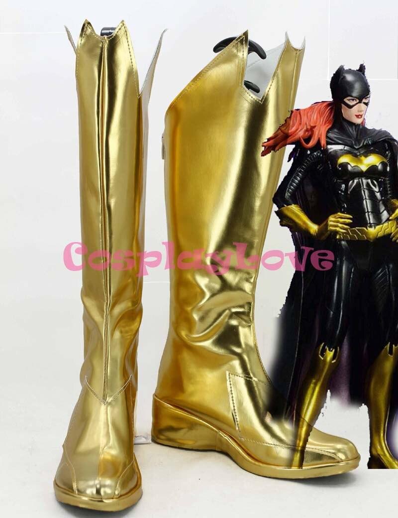 Newest Custom Made Japanese Anime Batman Batgirl Cosplay Shoes Golden Long Boots Hand Made For Christmas Halloween
