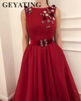 Elegant Sleeveless Evening Dress 2018 Long Red Wedding Formal Party Gowns Robe de soiree Crystal Plus Size Women Prom Dresses