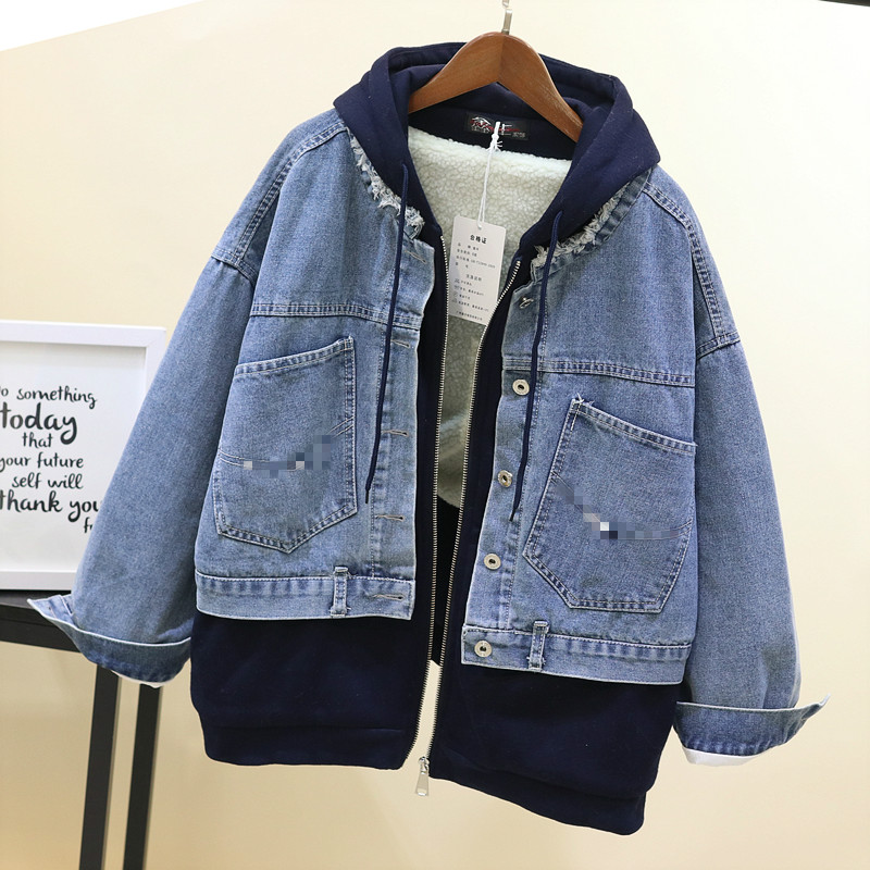 Coton gris Agneau Hiver Épaissie À Bleu Étudiant Lâche Chaud Manteau Pardessus Twopieces Laine Denim 2019 Capuche Veste Faux Jeans BUq7ww