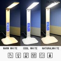 Mumeng led 데스크 램프 usb와 eu 플러그 dimmable 빛 영원한 달력 디지털 시계 접는 현대 테이블 램프|탁상 램프|   -