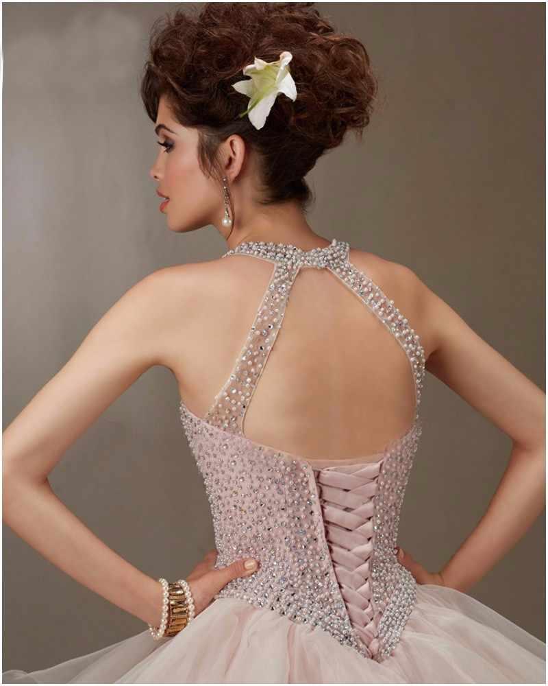 2017 nova chegada nua rosa vestido de baile organza babados beading quinceanera vestidos pageant 15 anos vestido de debutante