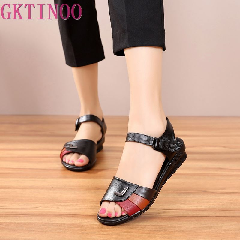 GKTINOO 2020 Summer Women Shoes Woman Genuine Leather Sandals Open Toe Mother Flat Casual Sandals Women Sandals