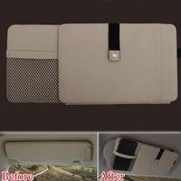 Auto Beige Car Sun Visor CD-DVD Plate Disk Card Glasses Holder Storage Organizer Bag Multifunction Fit For Toyota Corolla Cruze