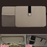 Auto Beige Car Sun Visor CD-DVD Plate Disk Card Glasses Holder Storage Organizer Bag Multifunction Fit For Toyota Corolla Cruze