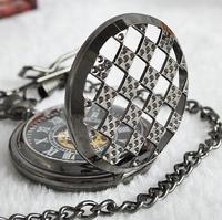 Vintage Black Steampunk Roman Dial Skeleton Full Metal Windup Mechanical Pocket Watch With Chain Pendant