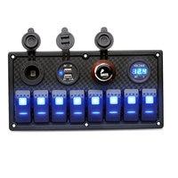 Waterproof 8 Gang Rocker Switch Panel 12V/24V Breaker Voltmeter For Car Marine Boat NR shipping