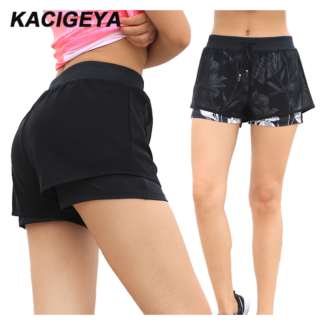 Woman Fitness Sports Shorts Breathable Double Layer Yoga Shorts Slim Running Gym Quick Dry Workout Jogging Shorts 2018 1