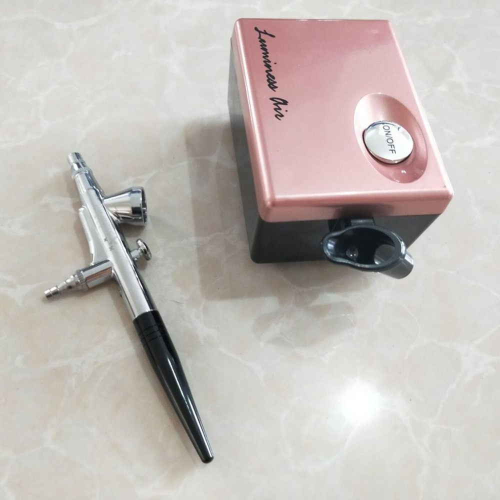 Juego de maquillaje de aerógrafo profesional Pinkiou Kit de cepillo de aire para pintura facial con Mini compresor aguja y boquilla de 0,4mm-in rizador de pestañas from Belleza y salud    1