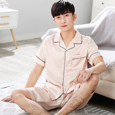 BZEL Pajamas Sets Men Sleepwear Short Sleeve Homewear Turn-down Collar Pyjama Satin Silk Pijama Sleep Lounge Leisure Home Cloth Islamabad