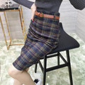 New Women bust Skirt 2016 Spring autumn Plaid Skirts Womens Woolen Pencil Skirt High Waist Package Hip Sexy Saia Longa F3866