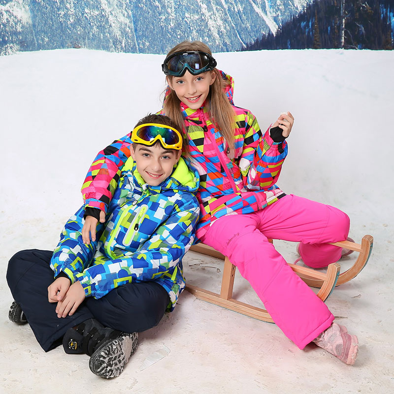 2017 Children Winter Ski Suit For Girls Snowboarding Suits Boys Kids Clothes Warm Snow Jacket And Pants Outdoor For 3T To 16T kids ski suits snow suits for girls children boys snowsuit down cotton jacket winter overalls child winter thicken clothing