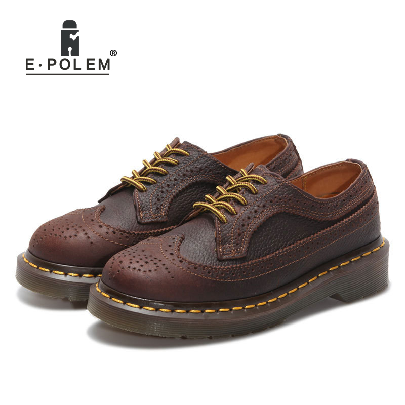 2018 Vintage Quality Genuine Leather Bullock Shoes Retro Style Carved Low Uppers Men Unisex Lace-Up Oxfords Leather Shoes brand new spring men fashion lace up leather retro brogue shoes casual flat breathable carved shoes bullock oxfords shoes wb 55