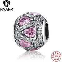 Hot Sell 925 Sterling Silver Jewelry FANCY PINK HEART PAVE BALL Charms Fit Pandora Bracelet Necklace