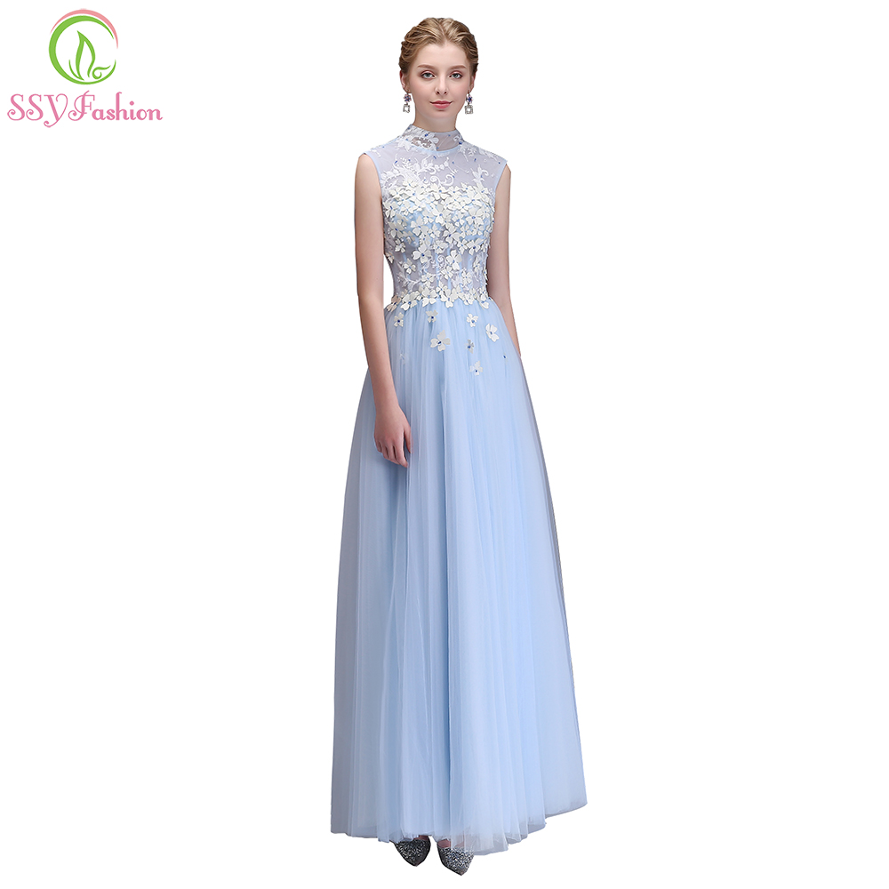 SSYFashion New Light Blue Lace Flower Evening Dress High-neck Floor-length Appliques  Beading Party Formal Gown Robe De Soiree f560baf24462