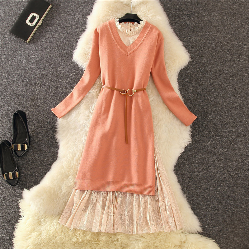 Elegant Sweater Dress 2pcs Set Pullover Loose Long-sleeved Knit Dress With Stylish Side Slit Buttons + Lace Dress