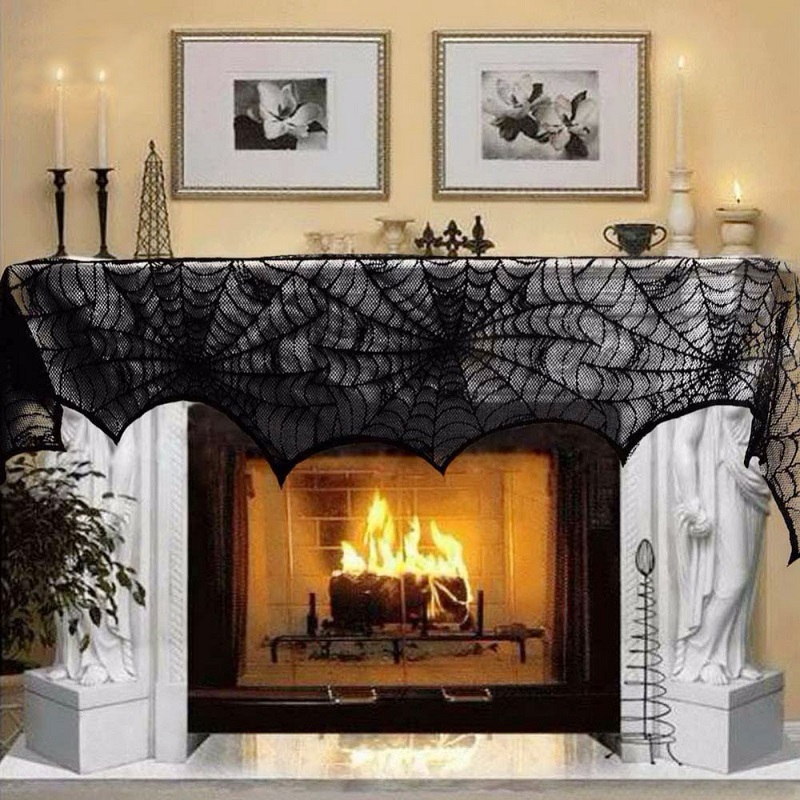 Halloween Theme Decoration Mozzarella Fireplace door Windows Black Lace Spider Web Cloak for Halloween House Supplies & Online Buy Wholesale spider door from China spider door ... Pezcame.Com