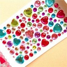 1 лист блеск Сердце Стиль Кристалл драгоценность Алмазная наклейка DIY 3D хрустальные наклейки со стразами самоклеющиеся наклейки