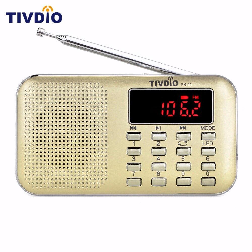 Tivdio pr-11 mini portátil Radios sintonización digital FM/AM Radios con MP3 reproductor de música linterna repetir Radios estación f9210j