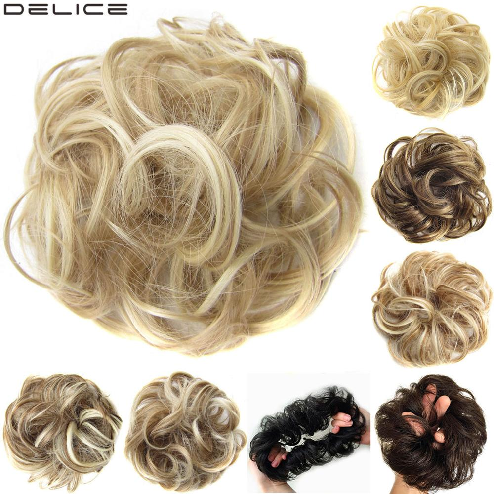 Delice Women's Curly Chignon With Elastic Rubber Band Synthetic Scrunchie Wrap Hair Ring Hairpieces