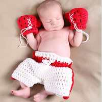Handmade Crochet Newborn Fotografia Rekwizyty Baby Boy Rękawice Bokserskie + Drutach Krótkie Spodnie Zestaw Conjunto De Bebe Akcesoria Fotograficzne