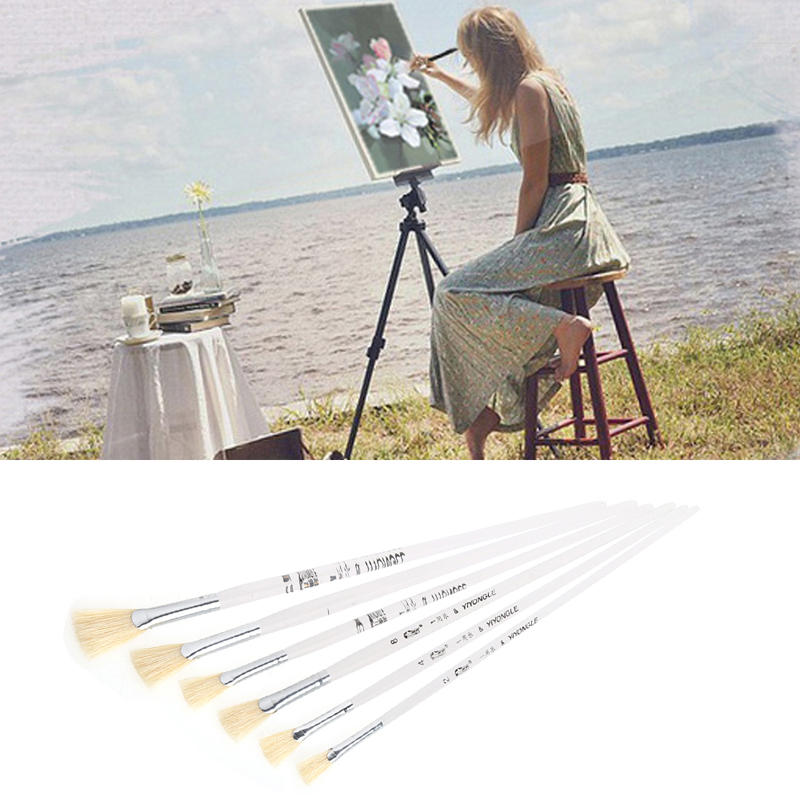 6pcs/Set Fan-shaped Paint Brush Set Oil Paint Nylon Hair Water Color Painting Brush Acrylics Brush Art Set Drawing Painting Tool solabela montreal artist brush set of 24 w canvas roll up pouch professional art brush set acrylic oil water color paint set
