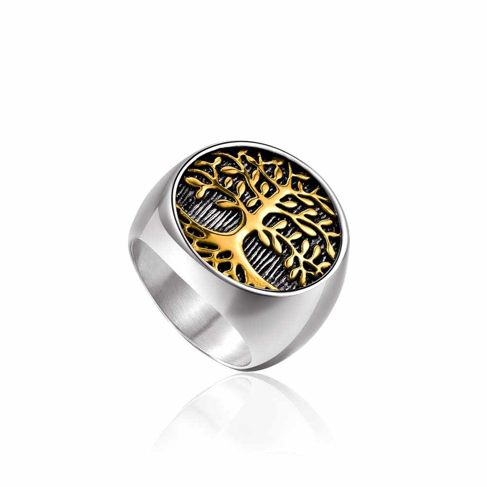 Hot Sale 316L Titanium Steel Silver Gold Color Tree of Life Finger Ring Punk Rock Men's Jewelry Size 8-12# drop shipping