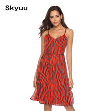 ae1c32ed6643 Skyuu Airy Summer Dress Fashion Beach Chiffon Sundress Formal Women Elegant  Dresses Boho Clothing 2019 Frocks