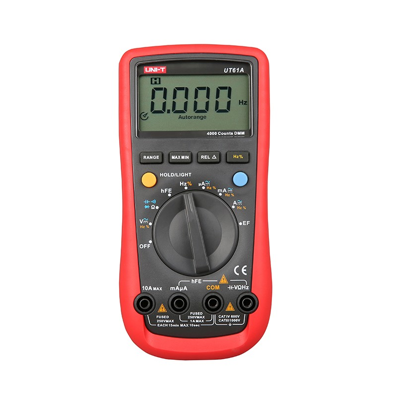 Digital Multimeter UNI-T UT61A High Reliability Professional Electrical Handheld Tester CD Backlight & Data Hold Multitester uni t ut151f high reliability handheld digital multimeter professional electrical handheld tester lcr meter