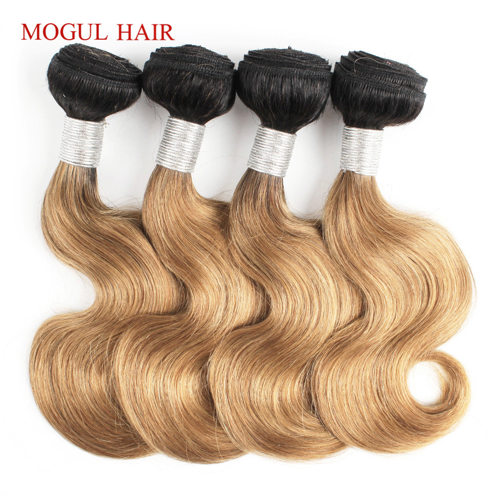 MOGUL HAIR 4 Bundles 50g/pc T 1B 27 Dark Root Honey Blonde 1B 613 Natural Black Brazilian Body Wave Remy Human Hair Bundles(China)