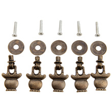 5Pcs 38x23mm Antique Bronze Furniture Cabinet Knobs and Handles for Jewelry Wooden Box Door Knob Ring Dresser Drawer Pull Handle