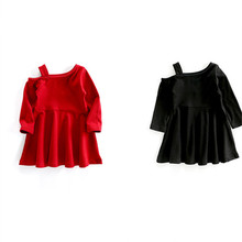 Spring Children Girl Soild Color Dress Baby Long Sleeve Strapless Black/Red Dress Kids Ruffles Princess Dress
