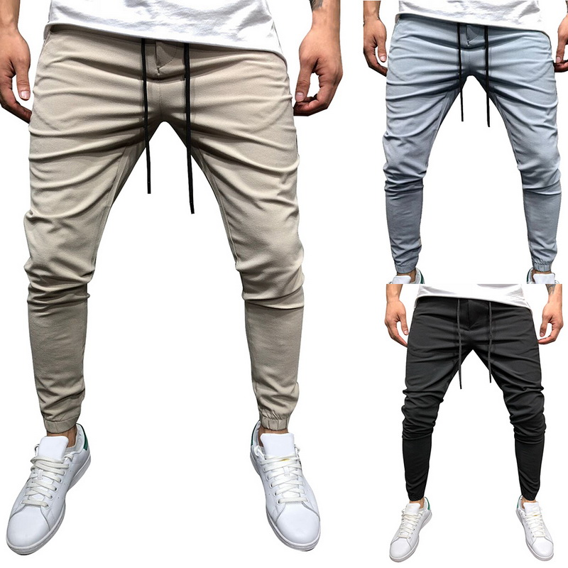 HEFLASHOR Hot Sales Men Solid Casual Pants Casual Elastic Male Fitness Workout Trousers Sweatpants Homme Fashion Jogger Pants