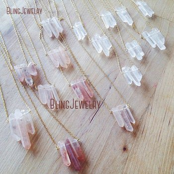 Strawberry Crystal Point Necklace or Clear Crystal Quartzs Point Statement Necklace Rough Point Stone Healing Necklace NM18673 фото