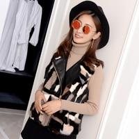 Color Block Natural Mink Fur And Pu Patchwork Waistcoats Women Real Fur Vests Female Short Design