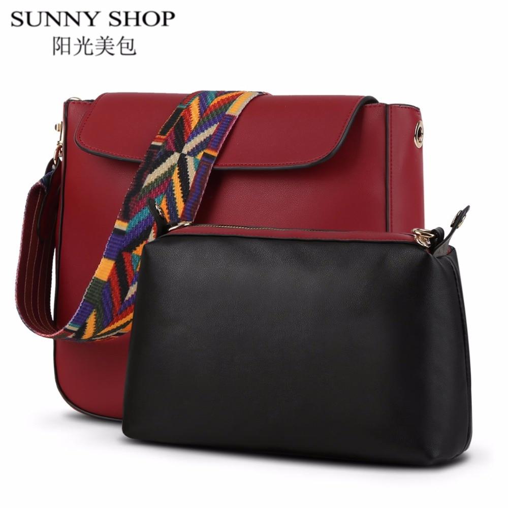 SUNNY SHOP luxury designer handbags high quality crossbody bag for women shoulder bags casual solid cover women messenger bags