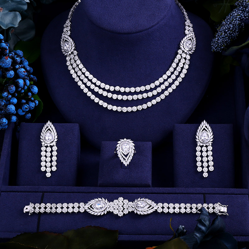 AccKing Luxury cubic zirconia necklace bracelet earrings and ring 4pcs dubai full jewelry set for women,bridal dress dinner a suit of delicate rhinestone necklace bracelet earrings and ring for women