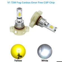 2x H16 (ЕС) PS19W светодиодный Canbus ОШИБОК 2000lm боковой свет дневного света DRL противотуманных фар PSX24W 5202 лампы Белый, psx24w canbus