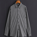 White/Black Plaid Business Casual Men Shirt Long Sleeve Turn-down Collar 100% Cotton Shirt Men