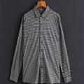 White/Black Plaid Business Casual Men Shirt Long Sleeve Turn-down Collar 100% Cotton Shirt Men
