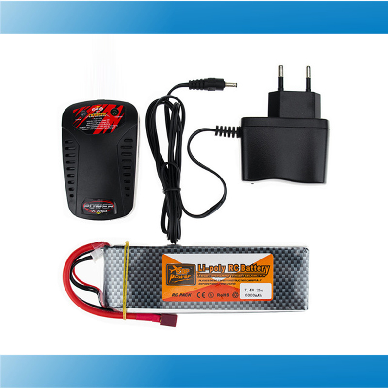 ZOP Lipo Battery 7.4V 6000MAH 25C 2S T XT60 With Smart Charger Set For RC Drone Models Helicopters Airplanes Cars Boat Batteria xxl rc lipo battery 2200mah 11 1v 3s 30c for trx 450 rc fixed wing helicopters airplanes cars