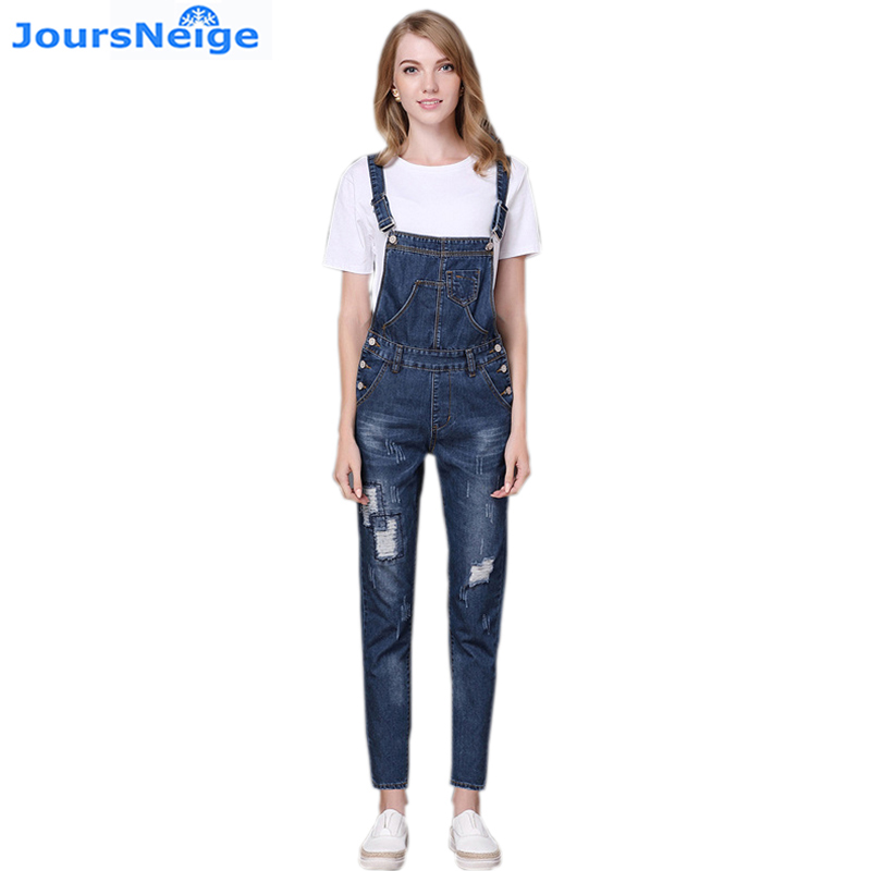 High Waist Ripped Jeans Women Jumpsuit 2017 New Fashion Denim Overalls Pants Casual Vintage Straight Pants Jeans Femme Plus Size  new 2016 fashion brand women washed denim casual hole romper jumpsuit overalls jeans macacao feminino vintage ripped jeans